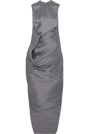 RICK OWENS Gathered silk-taffeta maxi dress