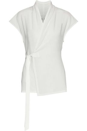 RICK OWENS Wool and silk-blend wrap top