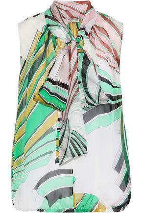 EMILIO PUCCI Pussy-bow printed silk-chiffon blouse