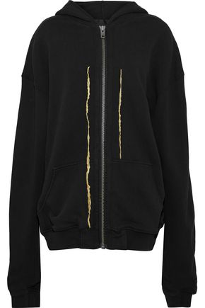 HAIDER ACKERMANN Metallic embroidered cotton-jersey hooded sweatshirt