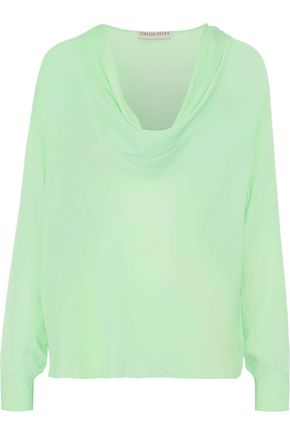 EMILIO PUCCI Draped silk crepe de chine blouse
