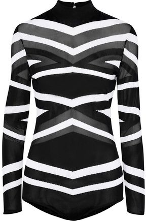 ZUHAIR MURAD Mesh-paneled striped stretch-knit bodysuit