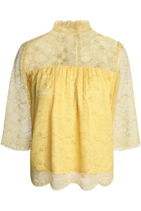 DAY BIRGER ET MIKKELSEN Gathered corded lace blouse