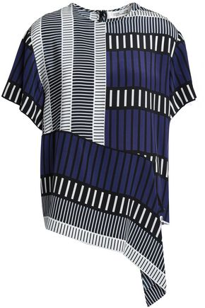 DIANE VON FURSTENBERG Asymmetric printed silk crepe de chine top