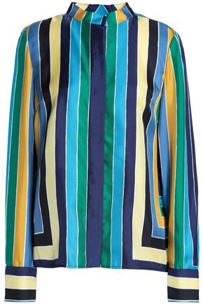 DIANE VON FURSTENBERG Striped silk-twill top