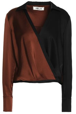 DIANE VON FURSTENBERG Wrap-effect color-block sateen top