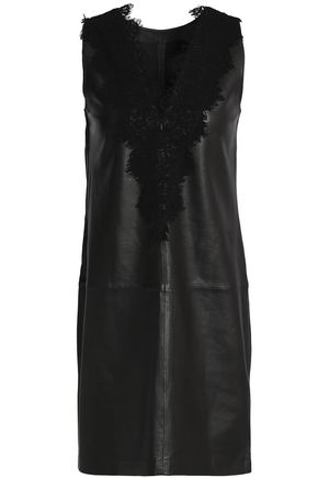 DAY BIRGER ET MIKKELSEN Lace-trimmed leather mini dress