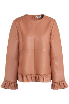 DAY BIRGER ET MIKKELSEN Ruffle-trimmed leather top