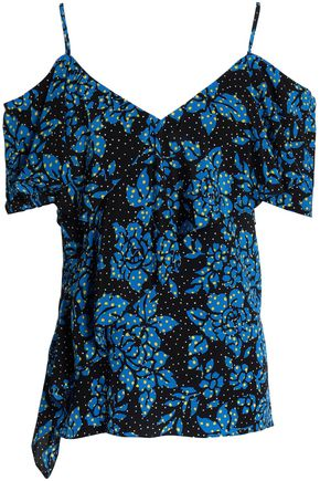 DIANE VON FURSTENBERG Off-the-shoulder floral-print silk crepe-satin top