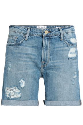 FRAME Distressed mid-rise denim shorts