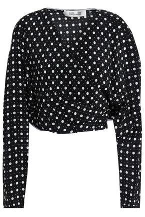DIANE VON FURSTENBERG Polka-dot layered silk wrap shirt