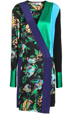 DIANE VON FURSTENBERG Wrap-effect floral-print and color-block satin mini dress