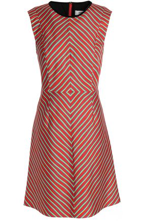 DIANE VON FURSTENBERG Striped wool and silk-blend canvas dress