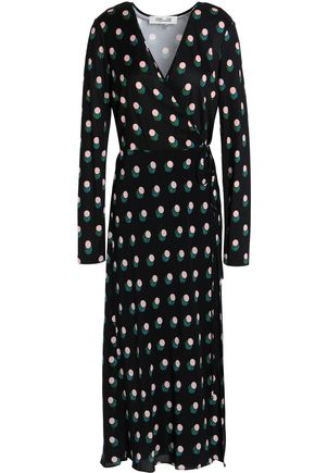 DIANE VON FURSTENBERG Printed silk-jersey midi wrap dress