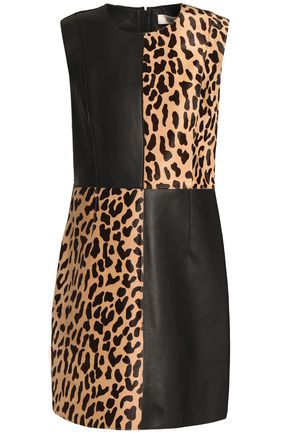 DIANE VON FURSTENBERG Leather and leopard-print calf hair mini dress