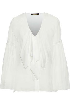 ROBERTO CAVALLI Pussy-bow crochet-trimmed silk-chiffon blouse