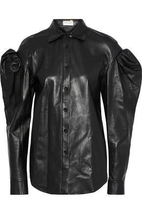 SAINT LAURENT Gathered leather shirt