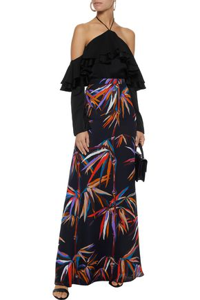 EMILIO PUCCI Cold-shoulder ruffled satin-crepe top