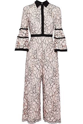 LELA ROSE Cropped corded lace jumpsuit