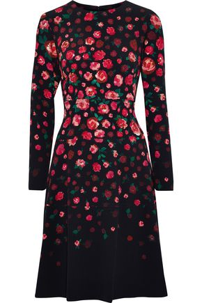 LELA ROSE Tiered floral-print crepe dress