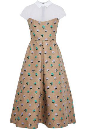 LELA ROSE Silk organza-paneled wool-blend floral-jacquard midi dress