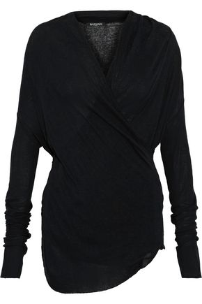 BALMAIN Wrap-effect cotton and cashmere-blend jersey top