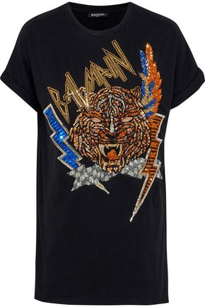 BALMAIN Embellished cotton-jersey T-shirt