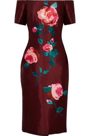 LELA ROSE Off-the-shoulder floral-print wool and silk-blend taffeta dress