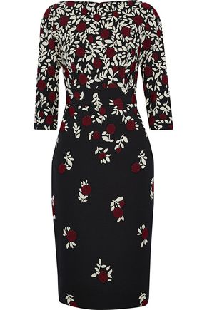 LELA ROSE Cotton-blend floral-jacquard dress