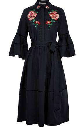 LELA ROSE Embellished cotton-blend poplin midi dress
