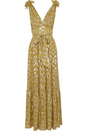 TEMPERLEY LONDON Metallic silk-blend fil coupé gown