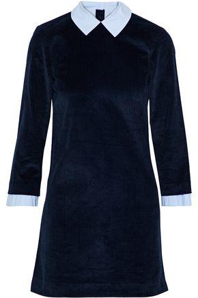SANDRO Laury poplin-trimmed cotton-blend corduroy mini dress