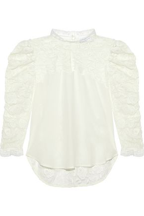 SANDRO Maden silk-paneled embroidered tulle blouse