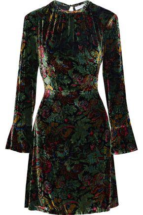 SANDRO Swana printed velvet mini dress
