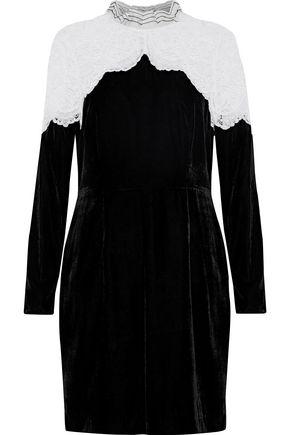 SANDRO Junie lace-paneled velvet mini dress
