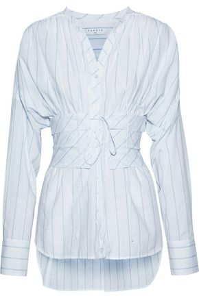 SANDRO Superbe belted striped cotton-poplin shirt