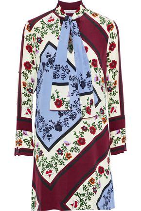 SANDRO Saffy pussy-bow printed silk crepe de chine mini dress