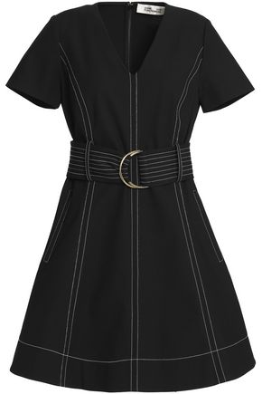 DIANE VON FURSTENBERG Belted stretch-cotton mini dress