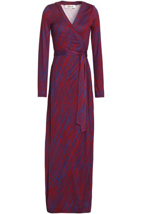 DIANE VON FURSTENBERG Gingham silk maxi wrap dress