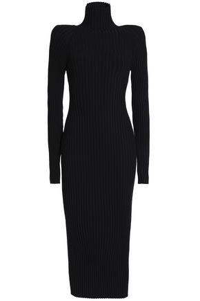 HAIDER ACKERMANN Ribbed wool and silk-blend turtleneck midi dress