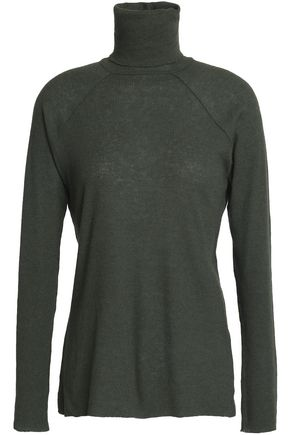 HAIDER ACKERMANN Ribbed wool and cotton-blend turtleneck top