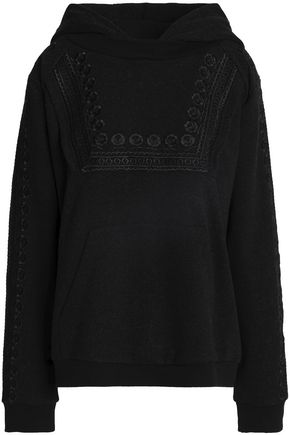 NEEDLE & THREAD Embellished embroidered cotton-blend hooded sweatshirt