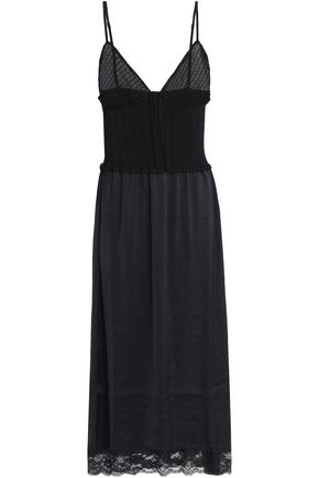 McQ Alexander McQueen Lace-trimmed stretch-ponte and satin-crepe midi dress
