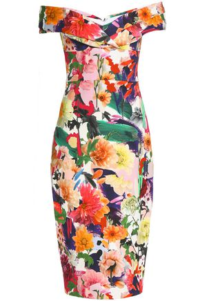 CUSHNIE ET OCHS Off-the-shoulder floral-print cady dress