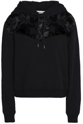 McQ Alexander McQueen Devoré velvet-paneled cotton hooded sweatshirt