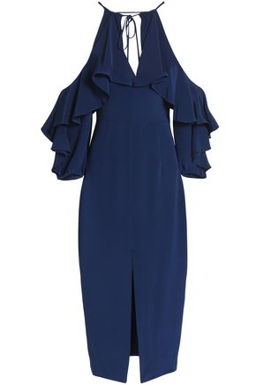 CUSHNIE ET OCHS Cold-shoulder ruffled silk crepe de chine midi dress