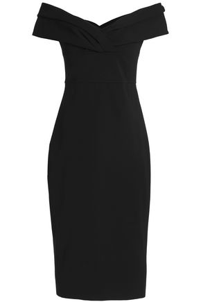 CUSHNIE ET OCHS Off-the-shoulder pleated ponte midi dress