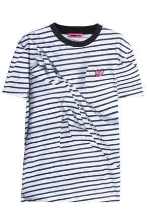 McQ Alexander McQueen Appliquéd striped cotton-jersey T-shirt