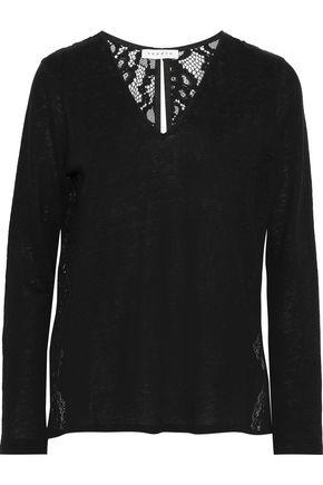 SANDRO Filipa split-back lace-paneled linen-jersey top