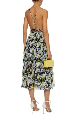 MARISSA WEBB Deanna pleated floral-print silk-chiffon midi dress